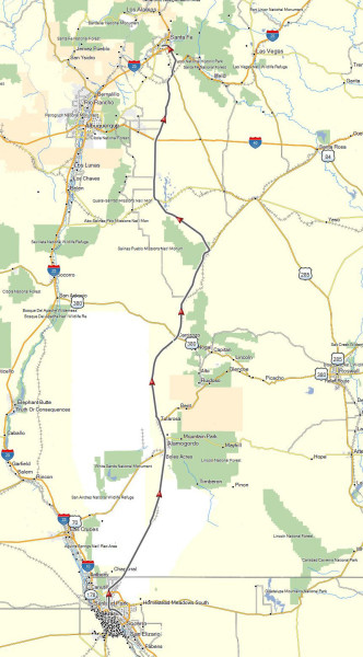 My route from El Paso, TX to Santa Fe, NM