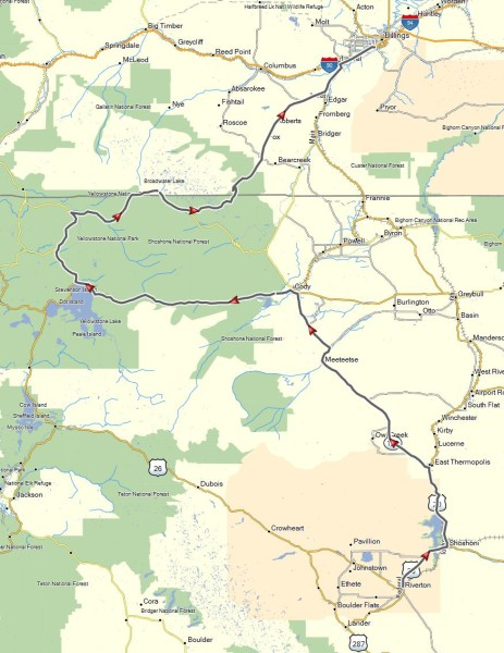 My route from Riverton, WY to Billings, MT through Yellowstone National Park
