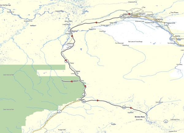 My route from Fairbanks to Denali National Park and east along the Denali Highway