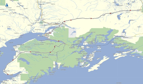 My route from Homer through Anchorage to Glennallen, AK