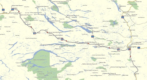 My route from New Hazelton to Quesnel, BC