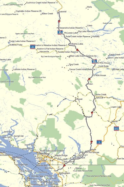 My route from Quesnel, BC to Ferndale, WA