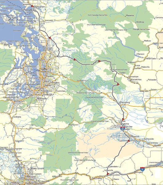 My route from Ferndale, WA to Arlington, OR