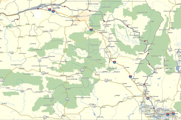 My route from Arlington, OR to Nampa, ID