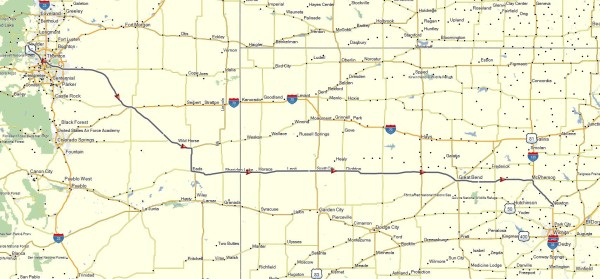 My route from Boulder, CO to Newton, KS