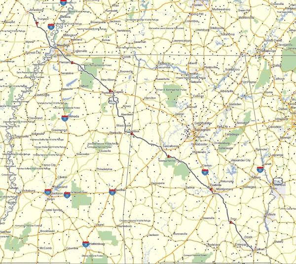 My route from Jonesboro, AR to Dothan, AL