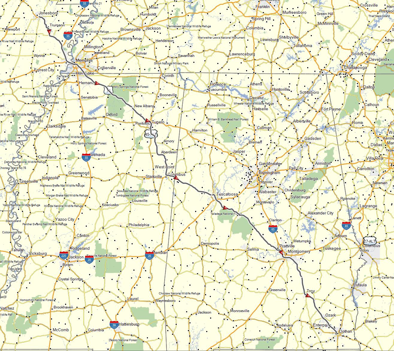 Jonesboro AR to Dothan AL Sept 7 2015 Don Moes Travel Website