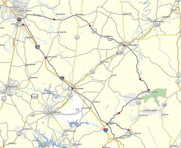The route of our day ride on June 19