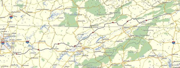 My route from Murfreesboro across Tennessee to Wytheville, Virginia